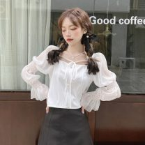 shirt White, blue Average size Spring 2021 other 30% and below Long sleeves commute Short style (40cm < length ≤ 50cm) square neck Socket Princess sleeve 18-24 years old Straight cylinder Korean version Splicing