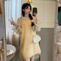 Dress Spring 2021 Black dress, yellow dress, grey dress, apricot shirt, pink shirt, white shirt, blue shirt Average size Middle-skirt Two piece set commute Crew neck Loose waist Socket A-line skirt Others 18-24 years old Type A Korean version Splicing