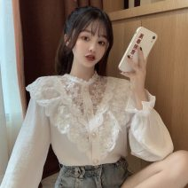 shirt Apricot, white Average size Spring 2021 other 30% and below Long sleeves commute Regular stand collar Single row multi button pagoda sleeve 18-24 years old Straight cylinder Korean version Stitching, lace