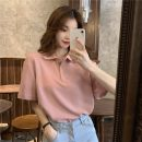 T-shirt White, blue, pink Average size Summer 2021 Short sleeve Polo collar easy Regular routine commute other 30% and below 18-24 years old Korean version Solid color Other / other Splicing