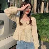Lace / Chiffon Spring 2021 Light blue, yellow Average size Long sleeves Versatile Socket singleton  Self cultivation Regular square neck Decor routine 18-24 years old Other / other Splicing