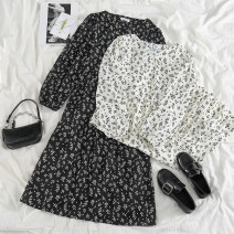 Dress Spring 2021 Black, white Average size Mid length dress singleton  Long sleeves commute V-neck High waist Broken flowers Single breasted Big swing puff sleeve 18-24 years old Type A 51% (inclusive) - 70% (inclusive) other polyester fiber