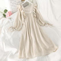 Dress Spring 2021 Apricot Average size Mid length dress singleton  Long sleeves commute square neck Loose waist Solid color Socket other bishop sleeve 18-24 years old Korean version 51% (inclusive) - 70% (inclusive) cotton