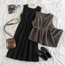 Dress Spring 2021 Apricot base, card dress, black dress Average size Mid length dress Two piece set Sleeveless commute Crew neck High waist Solid color Socket A-line skirt 18-24 years old Type A Korean version 31% (inclusive) - 50% (inclusive) brocade cotton
