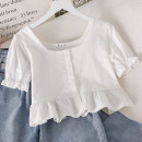 shirt White, yellow, pink Average size Summer 2021 cotton 51% (inclusive) - 70% (inclusive) Short sleeve commute Short style (40cm < length ≤ 50cm) square neck Single row multi button puff sleeve Solid color 18-24 years old Straight cylinder Korean version