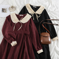 Dress Spring 2021 Red, black S,M,L longuette singleton  Long sleeves commute Doll Collar High waist Solid color Socket A-line skirt routine Others 18-24 years old Type A Korean version 51% (inclusive) - 70% (inclusive) corduroy polyester fiber