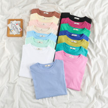 T-shirt Lake blue, ocean blue, coral powder, olive green, caramel, glass blue, star black, pitaya, cloud sand white, forest green, peach pink, almond, mint green, light yellow, blue purple S,M,L,XL,2XL Summer 2021 Short sleeve Crew neck easy Medium length routine commute other 18-24 years old