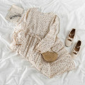 Dress Spring 2021 white Average size Mid length dress singleton  Long sleeves Sweet Crew neck Elastic waist Broken flowers Socket other Wrap sleeves Others 18-24 years old Type H 51% (inclusive) - 70% (inclusive) Chiffon cotton Mori