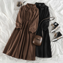 Dress Spring 2021 Black, brown Average size Mid length dress singleton  Long sleeves commute Crew neck Elastic waist Solid color other A-line skirt routine Others 18-24 years old Type A Korean version bow 71% (inclusive) - 80% (inclusive) other polyester fiber