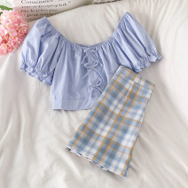 Fashion suit Summer 2021 S. M, l, average size Blue top, blue striped skirt 18-25 years old 51% (inclusive) - 70% (inclusive) polyester fiber