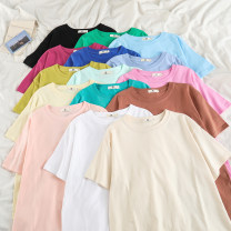T-shirt S,M,L,XL,2XL Spring 2021 Short sleeve Crew neck easy Medium length routine commute cotton 86% (inclusive) -95% (inclusive) 18-24 years old Korean version classic