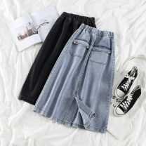 skirt Spring 2020 S,M,L black Mid length dress Versatile High waist A-line skirt Solid color Type A 18-24 years old 51% (inclusive) - 70% (inclusive) Denim