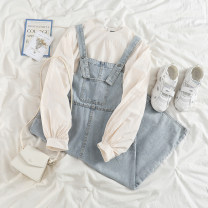 Fashion suit Spring 2021 Average size Apricot shirt, denim skirt 18-25 years old 51% (inclusive) - 70% (inclusive) polyester fiber