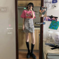Fashion suit Summer 2020 S. M, l, average size Pink Bear T-shirt, leopard skirt 18-25 years old