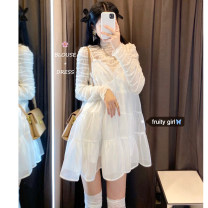 Dress Spring 2021 Beige base and white suspender skirt Average size Short skirt Two piece set commute Crew neck High waist Solid color Socket A-line skirt 18-24 years old Type A Korean version