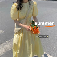 Dress Summer 2021 rose red , white , violet , black , BB powder , Yellow  Average size Mid length dress singleton  Short sleeve commute Crew neck High waist Solid color 18-24 years old Type A Korean version other