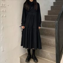 Dress Spring 2020 black Average size Mid length dress singleton  Long sleeves commute Polo collar Loose waist Solid color Socket A-line skirt routine 18-24 years old Type A Korean version Frenulum 51% (inclusive) - 70% (inclusive)