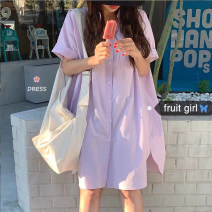 Dress Summer 2020 Purple, blue, pink Average size Middle-skirt singleton  Short sleeve commute Polo collar Loose waist Solid color Single breasted shirt sleeve 18-24 years old Type H Korean version