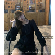 Dress Spring 2021 black M, L Short skirt singleton  Long sleeves commute square neck High waist Solid color Socket A-line skirt routine 18-24 years old Type A Korean version