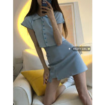 Fashion suit Summer 2021 Average size Grey top, black top, light blue top, blue skirt s, blue skirt m, pink skirt s, pink skirt M 18-25 years old
