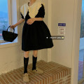 Dress Summer 2021 Violet, blue, black Average size Middle-skirt singleton  Short sleeve commute Doll Collar High waist puff sleeve 18-24 years old Korean version Splicing