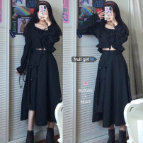 Fashion suit Autumn 2020 Average size Bubble sleeve black shirt, tooling skirt s, tooling Skirt M 18-25 years old