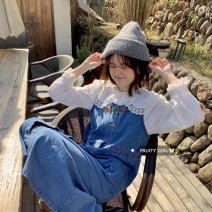 Fashion suit Spring 2021 Average size Lace shirt, embroidered vest, denim skirt 18-25 years old