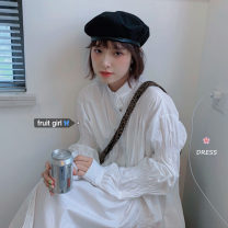 Dress Autumn 2020 white Average size Middle-skirt singleton  Long sleeves commute stand collar Loose waist Solid color Single breasted bishop sleeve 18-24 years old Type H Korean version fold