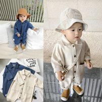 Jumpsuit / climbing suit / Khaki Naughty little guest Class B neutral 73cm,80cm,90cm,100cm other spring and autumn Long sleeves Long climb Korean version There are models in the real shooting nothing Single breasted 3 months, 6 months, 12 months, 18 months