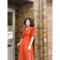 Dress Summer of 2019 Orange red past S,M,L longuette Short sleeve puff sleeve 18-24 years old Type X Chemistry girl More than 95% cotton