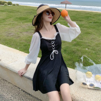 one piece  other S [recommended 80-90 kg], m [recommended 90-100 kg], l [recommended 100-110 kg], XL [recommended 110-120 kg] Black 8239, pink 8239, orange 8239 Skirt one piece With chest pad without steel support other female Long sleeves Casual swimsuit Solid color