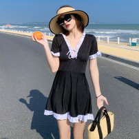 one piece  other S [recommended 80-90 kg], m [recommended 90-100 kg], l [recommended 100-110 kg], XL [recommended 110-120 kg] Black 8217, yellow 8217, pink 8217 Skirt one piece With chest pad without steel support Polyester, others female Sleeveless Casual swimsuit Other, solid