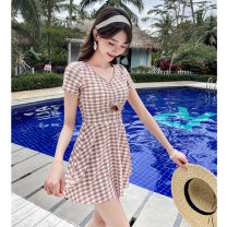 Split swimsuit other Green 8909 Xu, pink 8909 Xu, Navy 8909 Xu S [recommended 75-90 kg], m [recommended 90-100 kg], l [recommended 100-110 kg], XL [recommended 110-120 kg], 2XL [recommended 120-130 kg] Skirt split swimsuit With chest pad without steel support Polyester, others female Crew neck