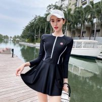 one piece  other S [recommended 75-90 kg], m [recommended 90-100 kg], l [recommended 100-110 kg], XL [recommended 110-120 kg], 2XL [recommended 120-130 kg] Black 8911, Navy 8911 Skirt one piece With chest pad without steel support Polyester, others female Long sleeves Competitive swimsuit