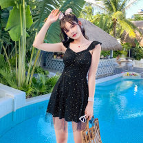 one piece  other S [recommended 80-90 kg], m [recommended 90-100 kg], l [recommended 100-110 kg], XL [recommended 110-120 kg] Pink 08251, black 08251, blue 08251 Skirt one piece With chest pad without steel support Polyester, others female Sleeveless Casual swimsuit other