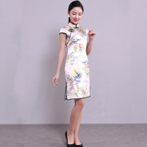 cheongsam Summer of 2018 Short sleeve Short cheongsam Simplicity Low slit daily woman's dress buttoned down from right armpit Decor 25-35 years old Piping silk 91% (inclusive) - 95% (inclusive)