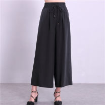 Casual pants black L suggests less than 120 kg, XL suggests 120-130 kg, 2XL suggests 130-140 kg, 3XL suggests 140-150 kg, 4XL suggests more than 150 kg Summer 2020 Ninth pants Wide leg pants High waist commute Thin money 96% and above Suno B15 silk Simplicity fold silk