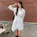 Dress Summer 2021 white Average size Short skirt singleton  Long sleeves commute Polo collar High waist Solid color Irregular skirt shirt sleeve 18-24 years old Type A Korean version Frenulum