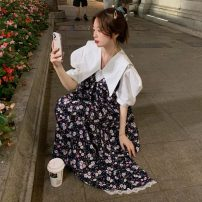 Dress Summer 2021 White shirt piece, blue floral skirt piece, black floral skirt piece S,M,L longuette singleton  Sleeveless commute V-neck High waist Broken flowers Socket A-line skirt camisole 18-24 years old Type A Korean version printing