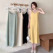 Dress Summer 2021 Apricot, light green, yellow, black Average size Mid length dress singleton  Sleeveless commute Crew neck Loose waist Solid color Socket A-line skirt camisole 18-24 years old Type A Korean version backless