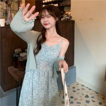 Dress Summer 2021 Blue green floral skirt, green cardigan, pink cardigan, pink floral skirt Average size Mid length dress singleton  Sweet V-neck High waist lattice Socket Big swing camisole 18-24 years old Type A 81% (inclusive) - 90% (inclusive) other Mori