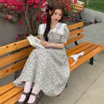 Dress Summer 2021 Picture color Average size Mid length dress singleton  Short sleeve commute Doll Collar High waist Broken flowers Socket A-line skirt puff sleeve 18-24 years old Type A Korean version