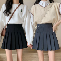 skirt Spring 2021 S,M,L Grey, black, khaki Short skirt commute High waist Pleated skirt Solid color Type A 18-24 years old 81% (inclusive) - 90% (inclusive) Korean version