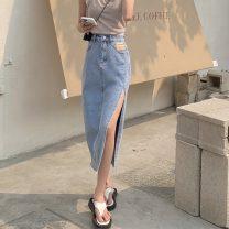 skirt Summer 2021 S,M,L,XL,2XL Blue, black and gray Mid length dress sexy High waist Irregular letter Type A 18-24 years old Denim polyester fiber