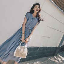 Dress Summer 2021 blue S,M,L,XL,2XL longuette singleton  Sleeveless commute V-neck High waist Solid color Single breasted Big swing routine Others 18-24 years old Type A Korean version Lace up, panel, button 81% (inclusive) - 90% (inclusive) other polyester fiber