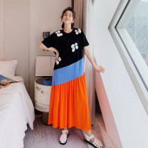 Dress Summer 2020 Picture color L,XL,2XL,3XL longuette singleton  Short sleeve street Crew neck Loose waist Socket routine 25-29 years old Type A printing six thousand two hundred and seventy-one # 91% (inclusive) - 95% (inclusive) knitting cotton Sports & Leisure