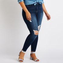 Women's large Spring 2018, autumn 2018, winter 2018 Dark blue, dark blue - rough edge 16,18,20,22,24,26,10,14 Jeans moderate Denim, cotton trousers