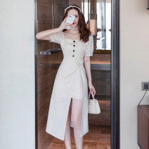 Dress Summer 2021 Mid length dress singleton  Short sleeve commute square neck High waist Solid color zipper Irregular skirt puff sleeve Others 25-29 years old Type A Bandage other other S,M,L,XL,XXL Apricot, black
