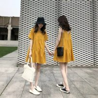 Dress Summer 2020 Yellow sling, yellow short sleeve S,M,L,XL 5719 in stock