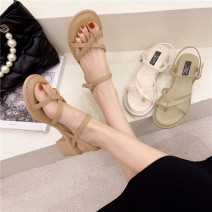 Sandals 35,36,37,38,39,40 Apricot, green, beige PU Sonlarfu / soranfu Toenail Thick heel High heel (5-8cm) Summer 2021 Flat buckle Light cooked Solid color Adhesive shoes Youth (18-40 years old), general rubber daily Ankle strap Low Gang Hollow PU PU Flat buckle Shaving